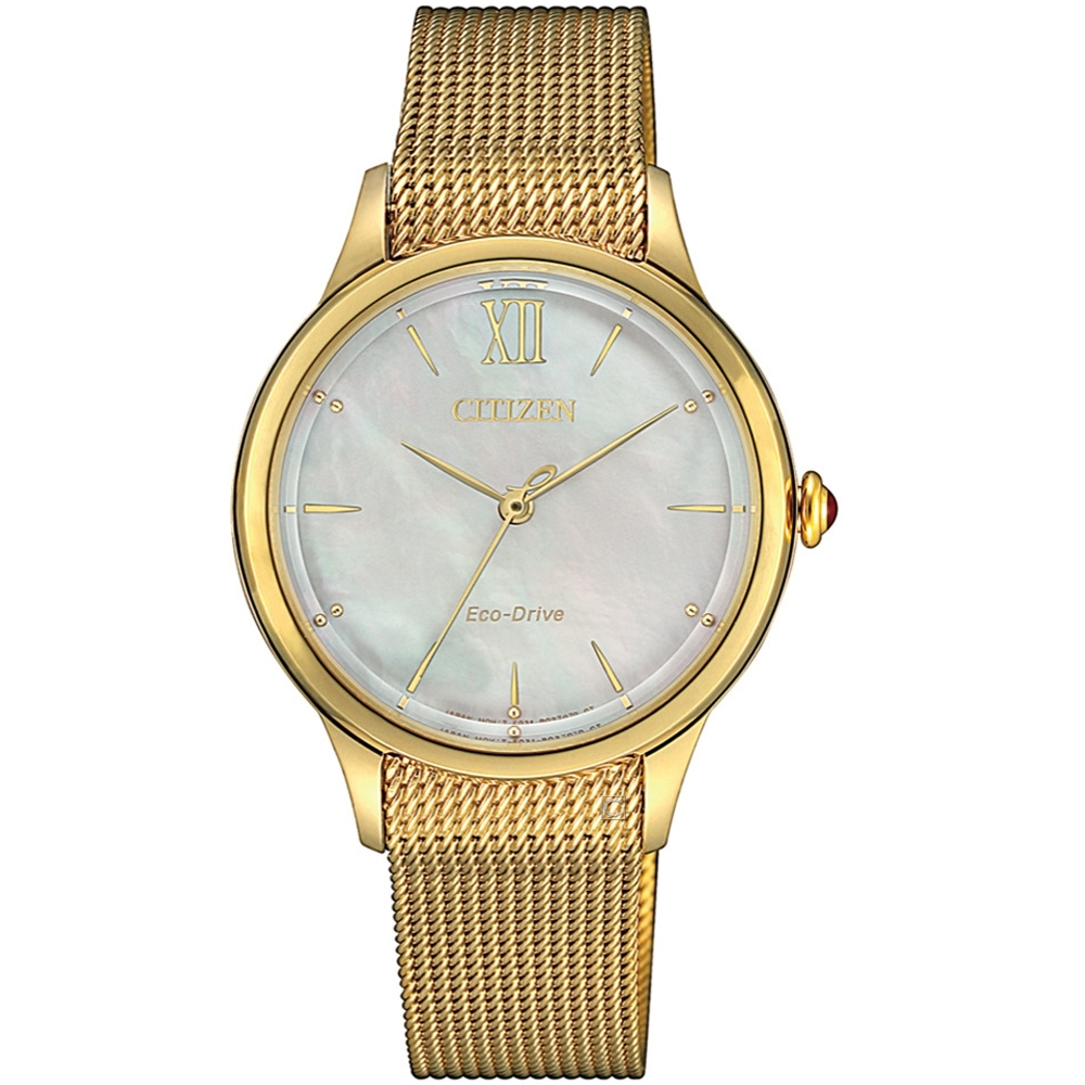 星辰CITIZEN L廣告款自信之美光動能女錶(EM0812-89D)-香檳金色