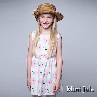 Mini Jule 童裝-洋裝 大象小屋印花後拉鍊無袖洋裝(粉)