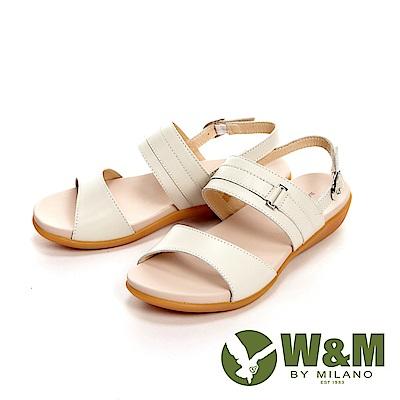 W&M 歐美雙帶皮革方扣涼鞋 女鞋-米白(另有黑)