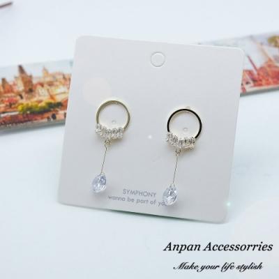 【ANPAN愛扮】韓東大門時尚低奢垂墜鑽石925銀耳針式耳環