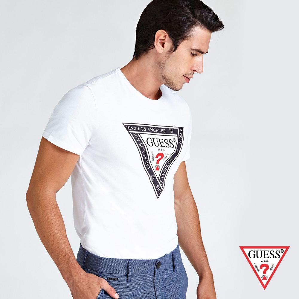 GUESS-男裝-純色倒三角LOGO短T,T恤-白 原價1490