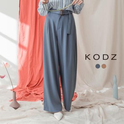 東京著衣-KODZ 質感簡約方扣造型前打褶落地寬褲-S.M.L(共二色)