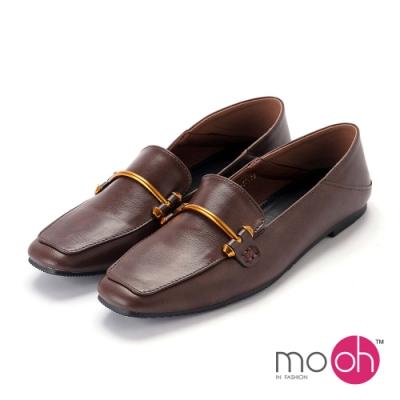 mo.oh-復古兩穿金屬扣樂福鞋-棕色