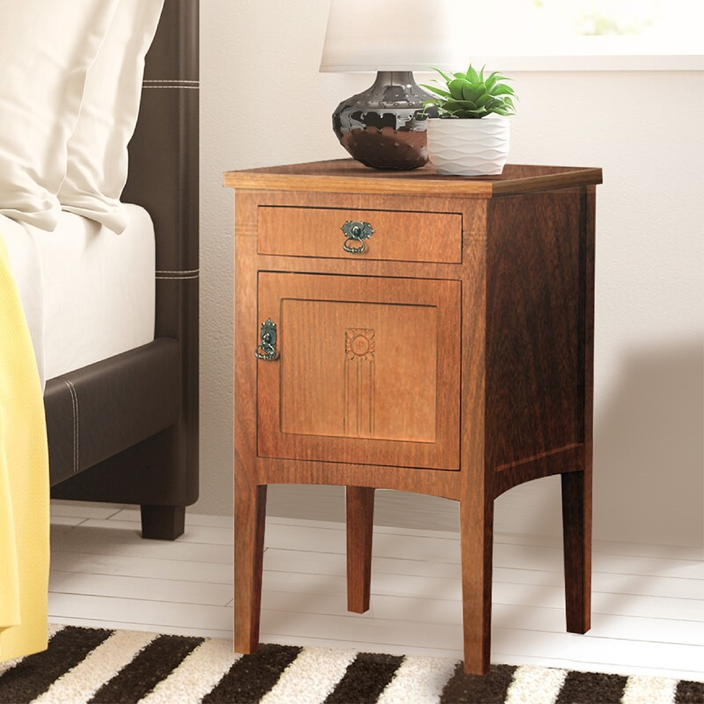 E-home Diem迪姆實木單抽單門床頭櫃 原木色