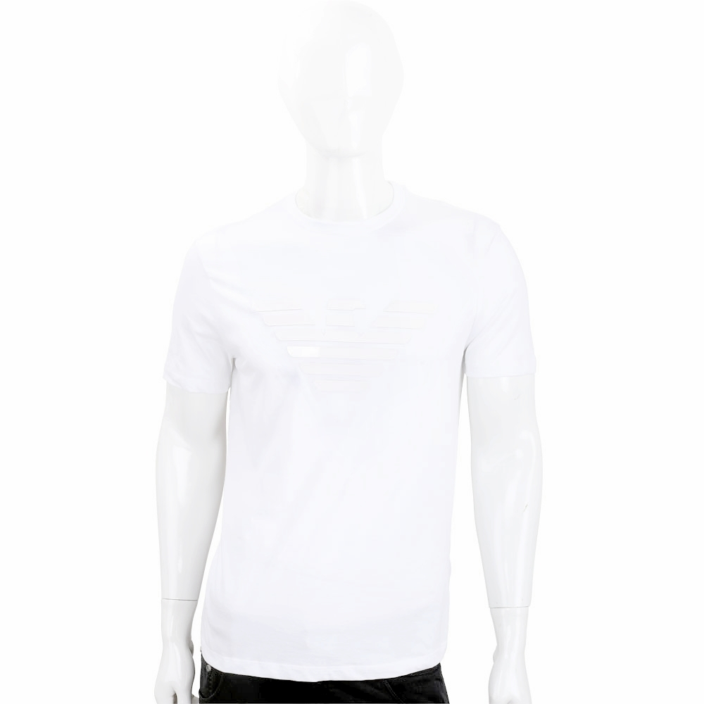 Emporio Armani 膠片老鷹標誌白色短袖T恤(男款)