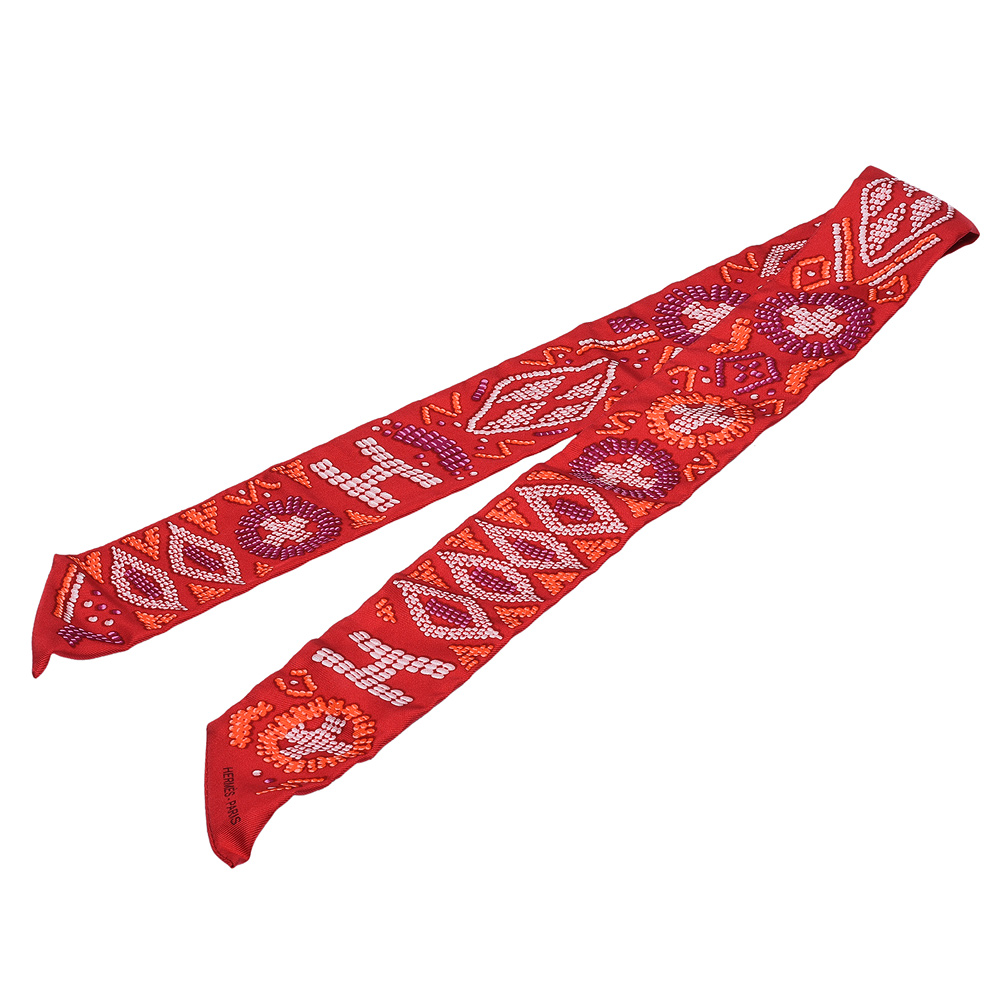 HERMES Kelly En Perles系列珠珠排列圖案Twilly絲巾領結(珊瑚色)