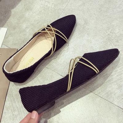 KEITH-WILL時尚鞋館 女神同款布面尖頭平底鞋-黑