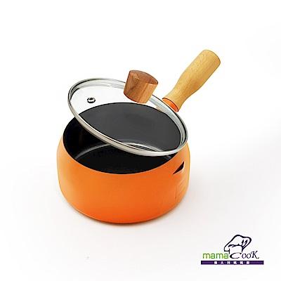 義大利Mama Cook輕量奶鍋組16cm 亮橘色(附蓋)