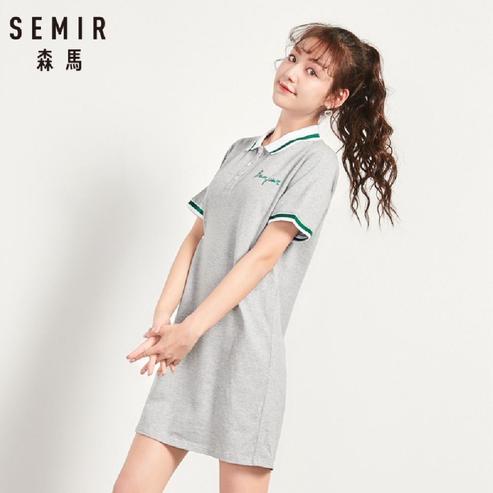 SEMIR森馬-運動風織帶造型網球甜心洋裝-女