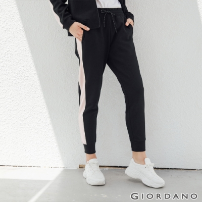 GIORDANO 女裝G-MOTION線條撞色長褲-37 標誌黑