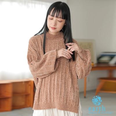 earth music 光澤絲絨感直紋高領蓬袖針織衫