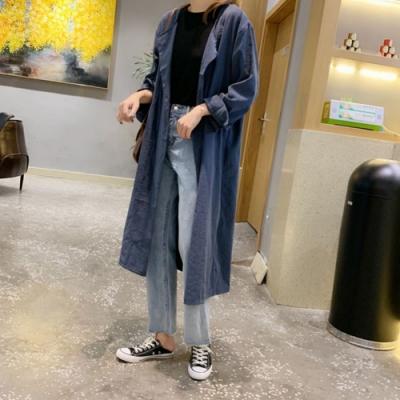 La Belleza銅氨絨風衣繫帶長版寬鬆開衫外套