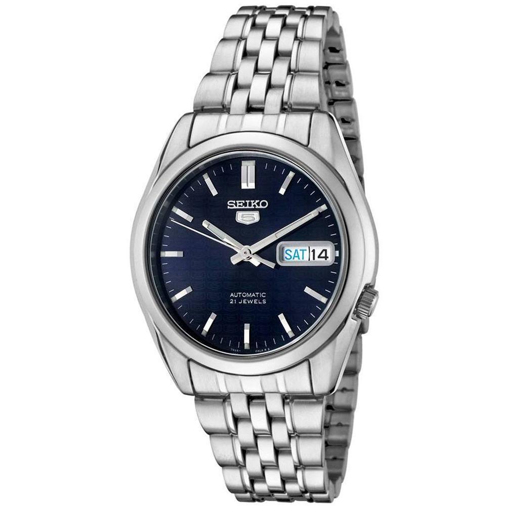 SEIKO精工  神鬼交鋒夜光5號自動上鍊機械腕錶(SNK357K1)-藍/37mm