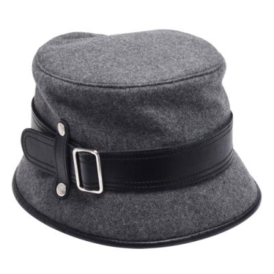 TODS 黑色皮帶造型羊毛遮陽漁夫帽(灰色)