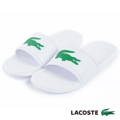 LACOSTE 男用休閒拖鞋-白色