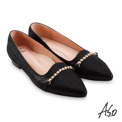 A.S.O 時尚流行 健步通勤箭紋羊絨皮低跟鞋-黑