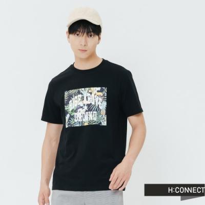 H:CONNECT 韓國品牌 男裝-夏日圖印圓領T-shirt-黑