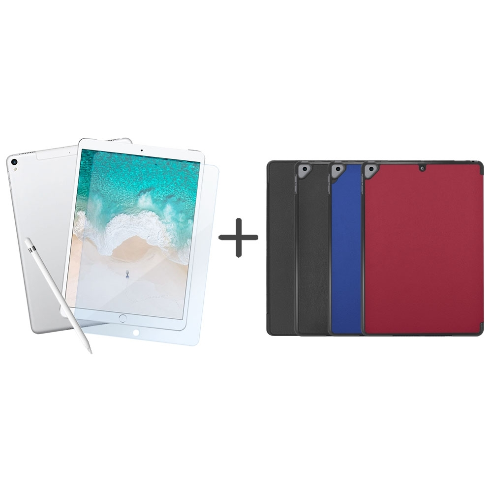 Metal-Slim Apple iPad Pro 10.5 2017 高仿小牛皮三折立架式皮套+抗藍光玻璃保護貼