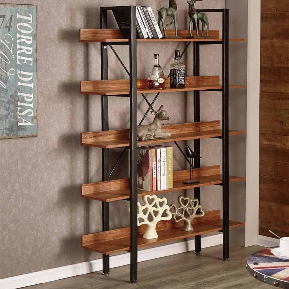 [時時樂限定]AT HOME-工業風4尺胡桃復古開放書櫃/書架/置物架/展示架