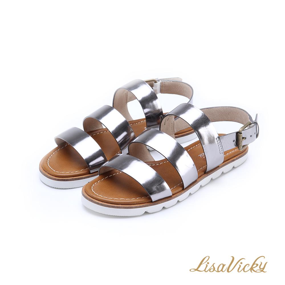 LisaVicky輕巧簡約鏡面寬版三橫帶平底涼鞋-亮銀色