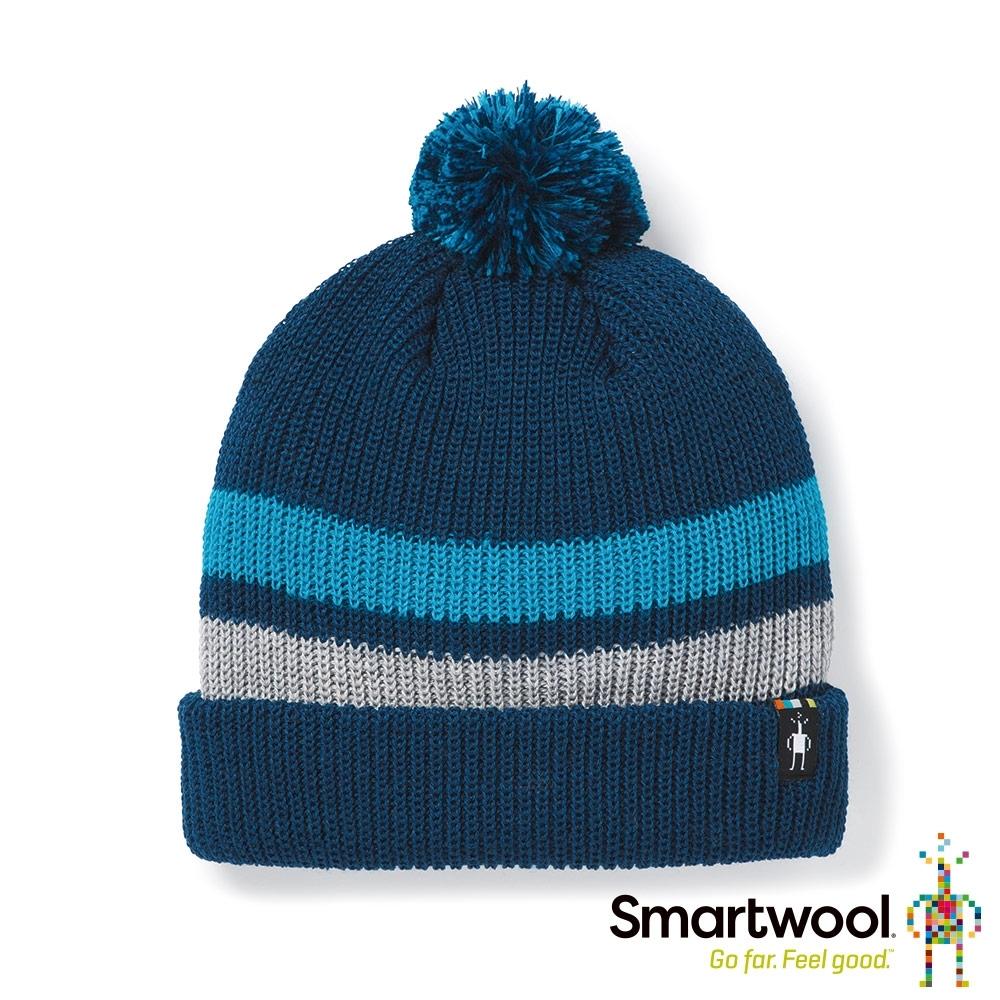 SmartWool 孩童 條紋毛球保暖毛帽 靛藍色