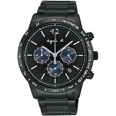 agnes b. 海外限定款三眼計時手錶(BU2002X1)-43mm