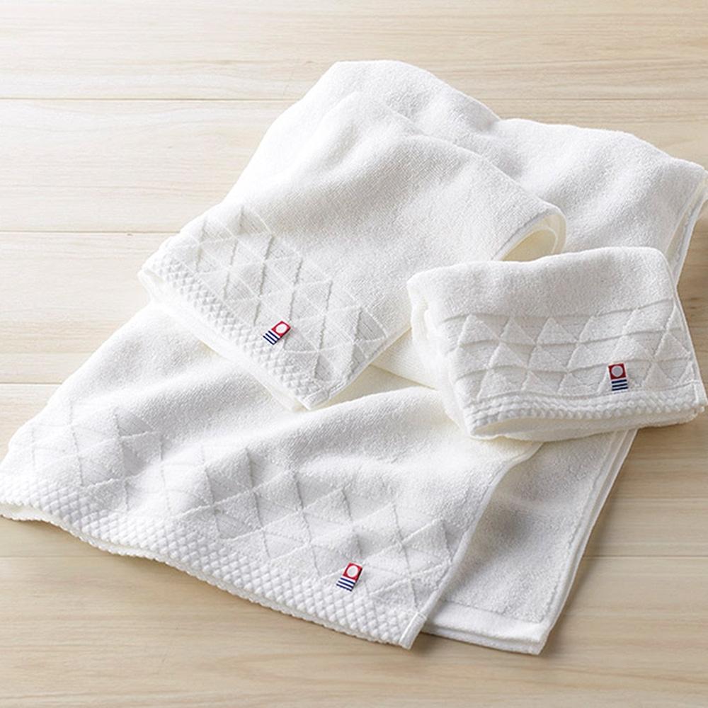 (三入組)日本丸真 今治原綿純白毛巾(寬條紋*2+漸層波浪*1)