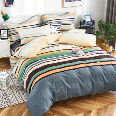 Grace Life 加大 親膚棉感活性印染枕套床包三件組-簡單之約