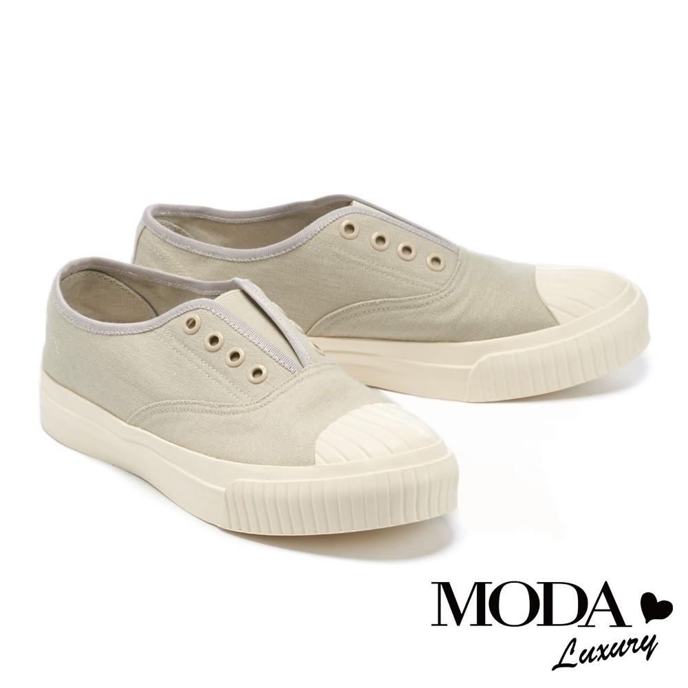 休閒鞋 MODA Luxury 簡約舒適懶人免綁帶厚底休閒鞋-灰