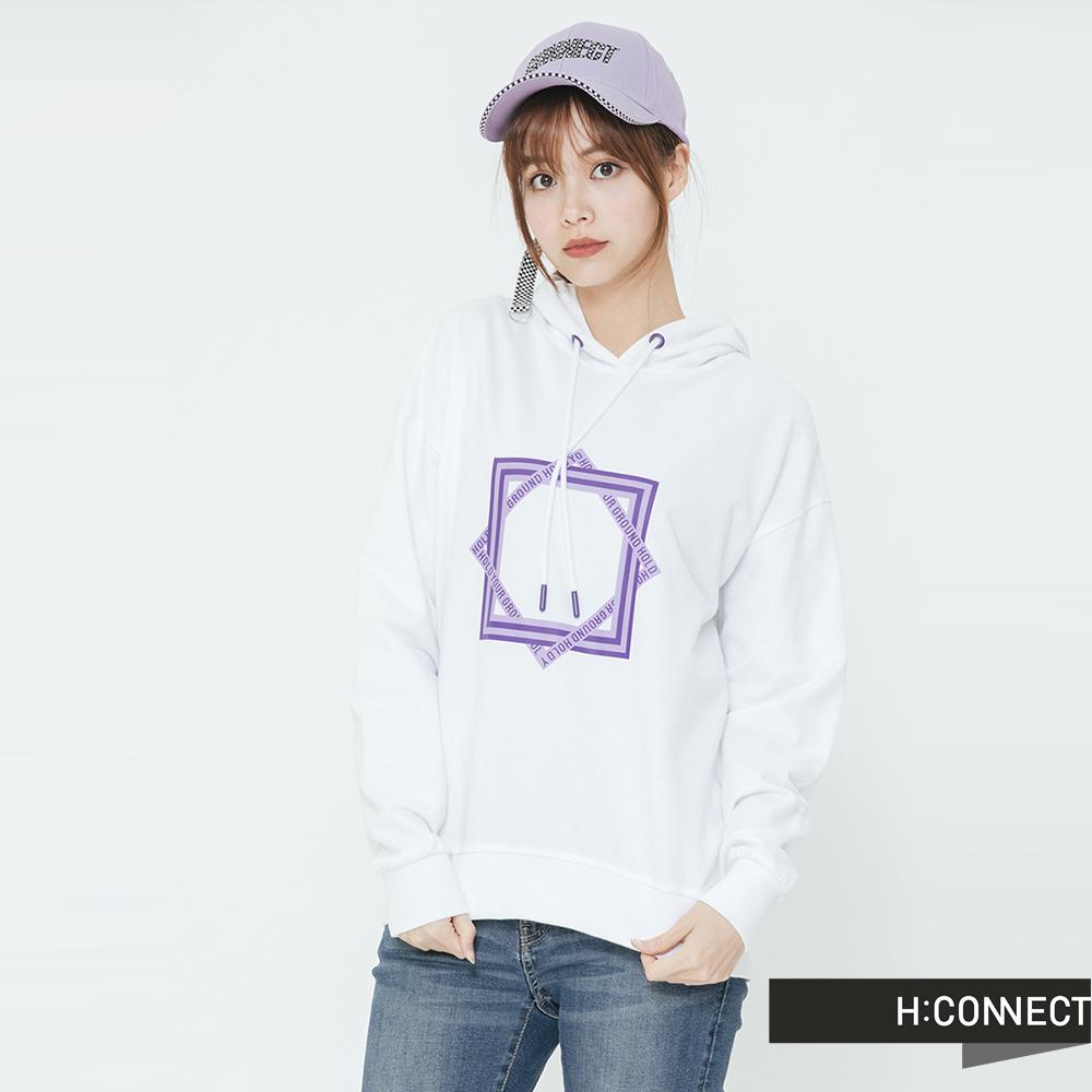 H:CONNECT 韓國品牌 女裝-抽繩印字圖樣帽T-白