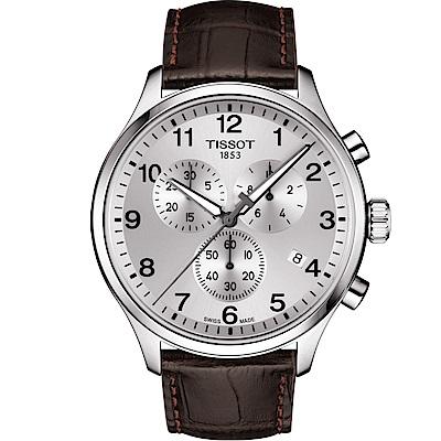 TISSOT天梭 韻馳系列CHRONO XL 大徑面計時腕錶-銀x咖啡/45mm