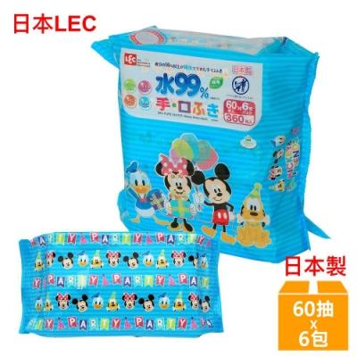 日本LEC 迪士尼米老鼠與好朋友-口手專用純水99%濕紙巾-60抽x6包/組