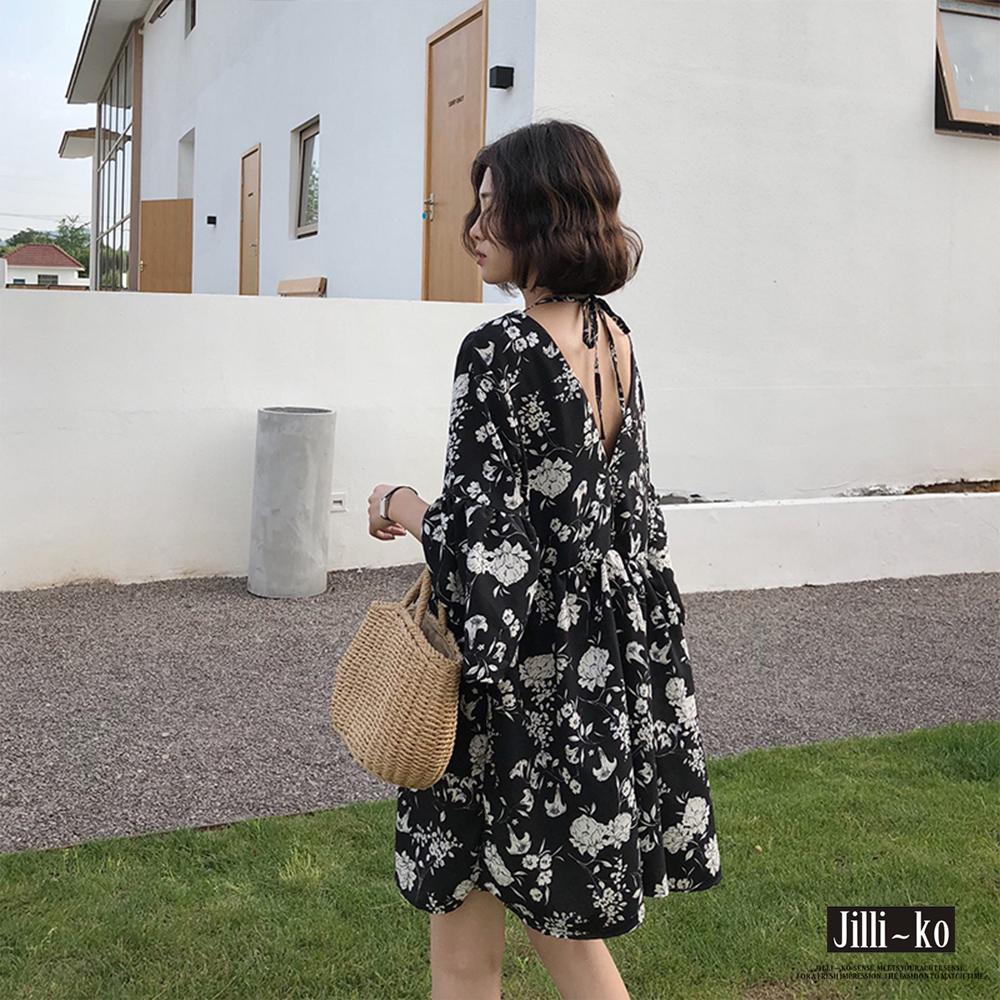 JILLI-KO 前後V領繫帶碎花連身裙- 黑