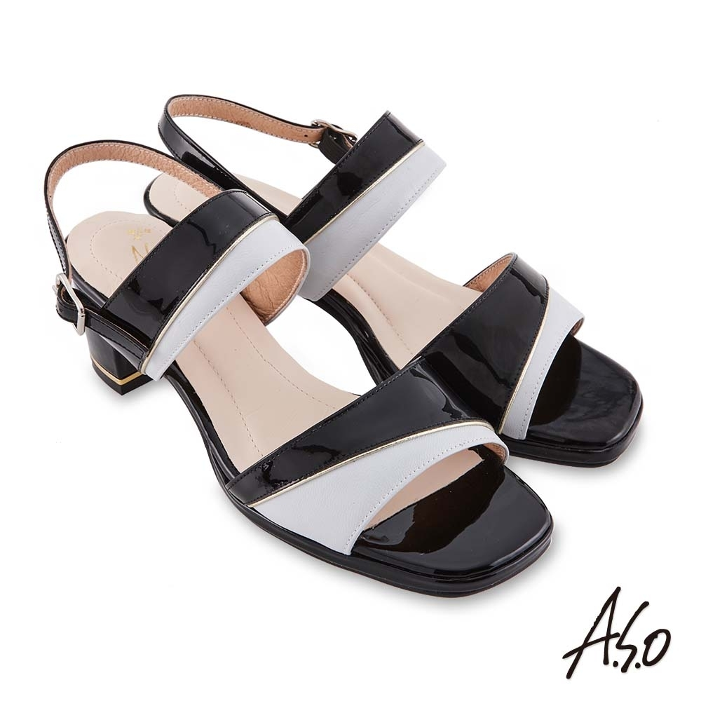 A.S.O 時尚流行 摩登時尚撞色金屬粗跟涼鞋-黑