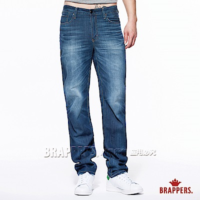 BRAPPERS 男款 男中腰系列-直筒褲-藍