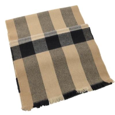 BURBERRY 經典格紋針織流蘇長型羊毛圍巾(卡其黑)
