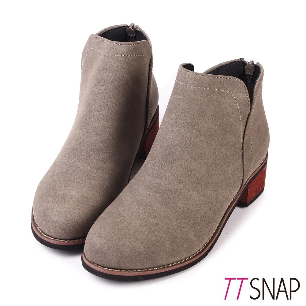 TTSNAP短靴-細緻微尖纖細後拉鍊中跟靴 卡其