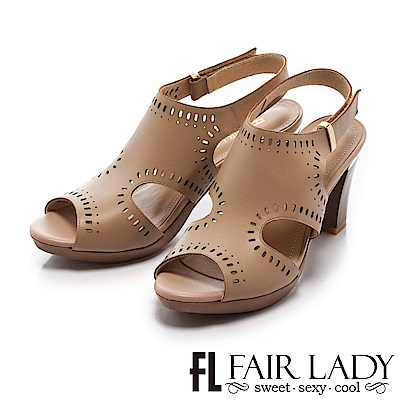 Fair Lady 唯美知性雕花縷空高跟涼鞋 卡其