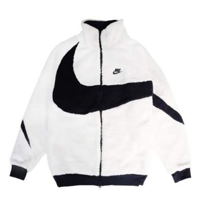 Nike 外套 NSW Swoosh Jacket 男款 運動休閒 大勾勾 流行款 絨毛 兩面穿 白 黑 BQ6546114