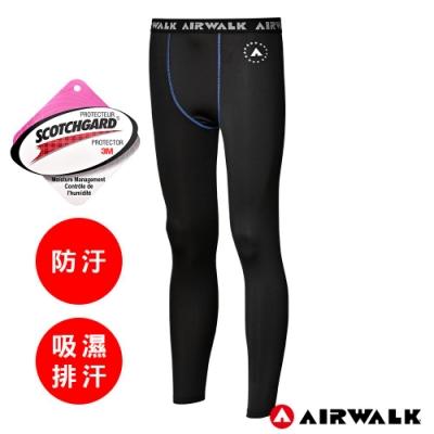 【AIRWALK】男款吸排緊身運動褲-黑底藍縫線