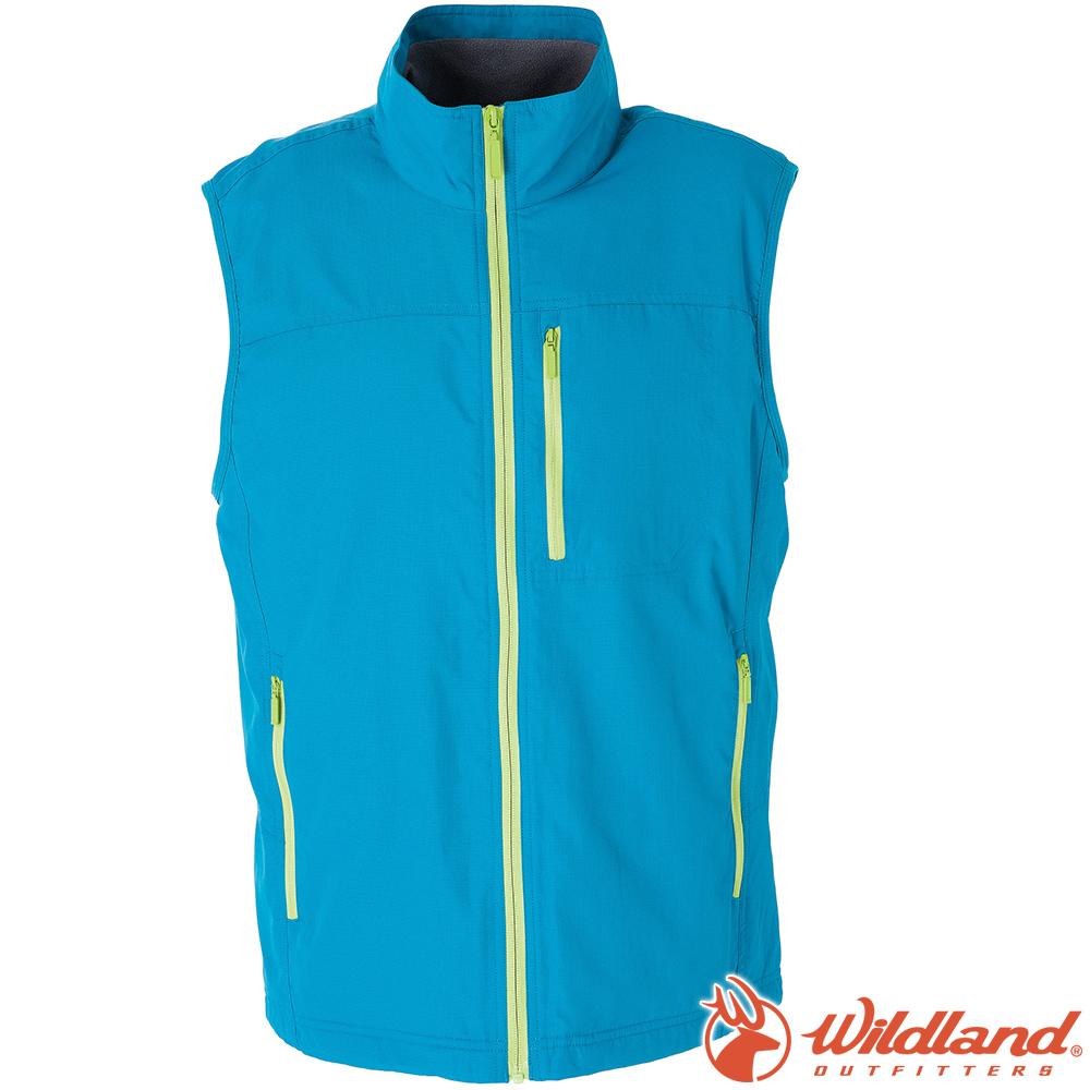 Wildland荒野 W2708-65湖水藍 男防潑水防風保暖背心(大尺碼)