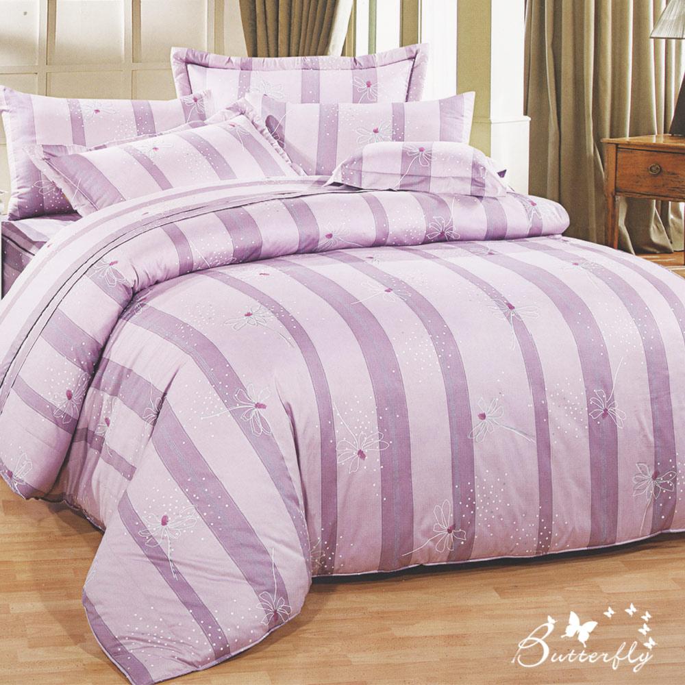 BUTTERFLY-台製40支紗純棉加高30cm單人床包+薄式信封枕套-翩翩漫舞-紫