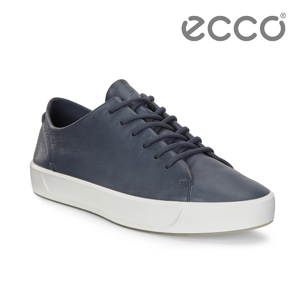 ECCO SOFT 8 W 簡約柔軟皮革休閒鞋 女-深藍