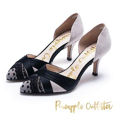 Pineapple Outfitter 法式優雅 高質感緞面蕾絲跟鞋-絨灰