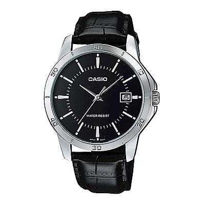 CASIO 都會男子白領羅馬指針皮帶錶-黑面(MTP-V004L-1A)/41.5mm