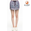 【hilltop山頂鳥】女款超潑水彈性抗UV假兩件式短褲S09F68粉紅印花