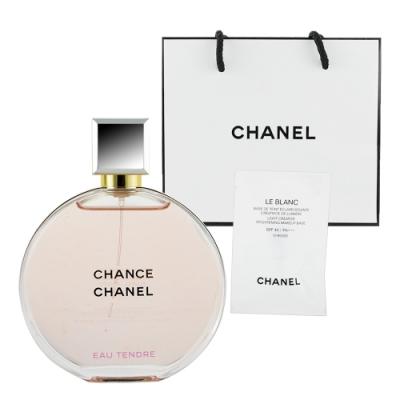 CHANEL香奈兒 CHANCE 粉紅甜蜜香水35ml +提袋及美妝小物