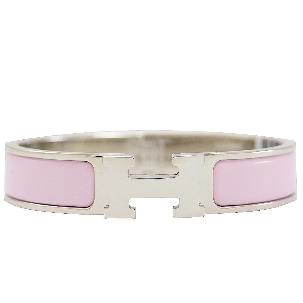 HERMES CLIC H LOGO琺瑯扣式手環(銀/玫瑰粉)