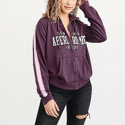 麋鹿 AF A&F 經典刺繡文字連帽外套(女)-深紫色
