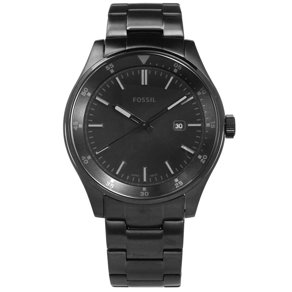 FOSSIL Belmar 極簡 日期 夜光指針 日本機芯 不鏽鋼手錶-鍍黑/44mm